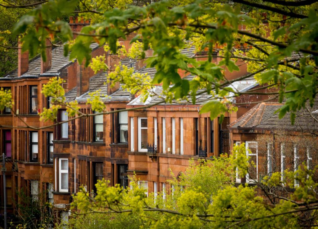 Glasgow red sandstone tenements